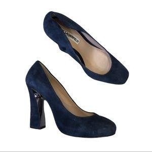 KARL LAGERFELD Blue Suede Block Heel Pumps